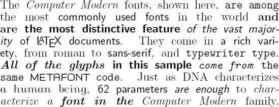 computer modern font family example