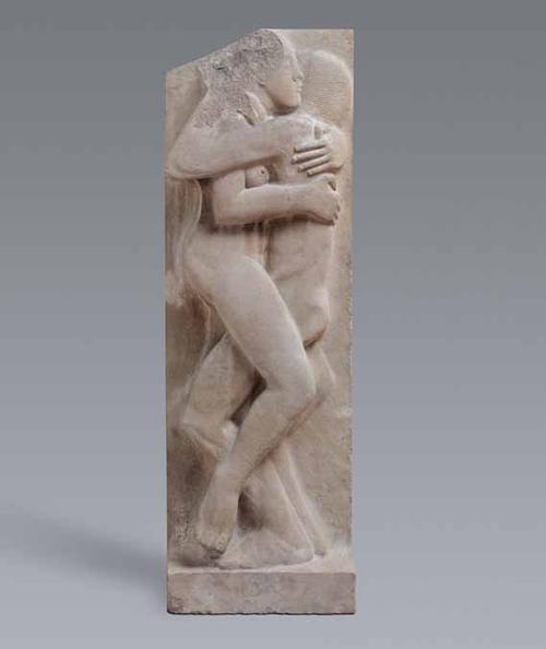 Gill 1910年木刻作品:狂喜(Ecstasy)。临摹自妹妹和妹夫。