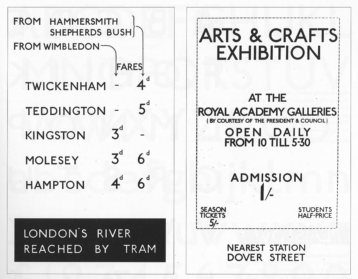 Johnston Sans 用在 1916 年地铁和「艺术与工艺展览」的海报(图:AG's ARTIN Design Blog)