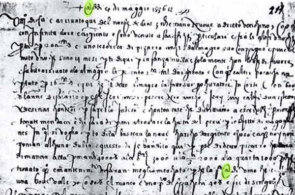 6. francesco lapi letter 1536 at sign