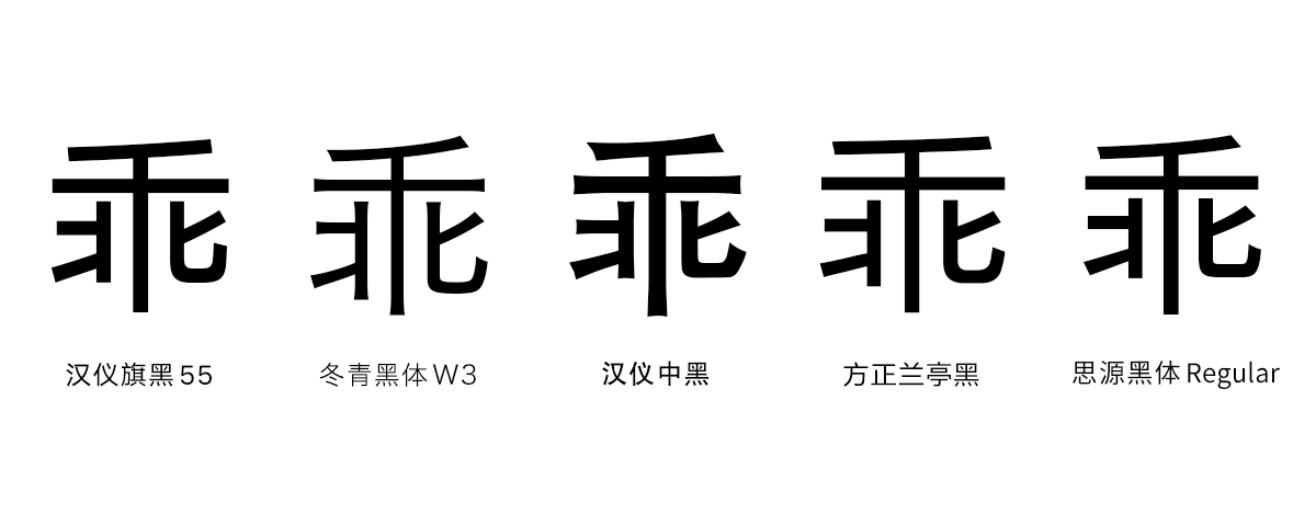 HYQiHei 55 vs. Hiragino Sans GB W3, HYZhongHei, FZLanTingHei Regular, and Source Han Sans Regular