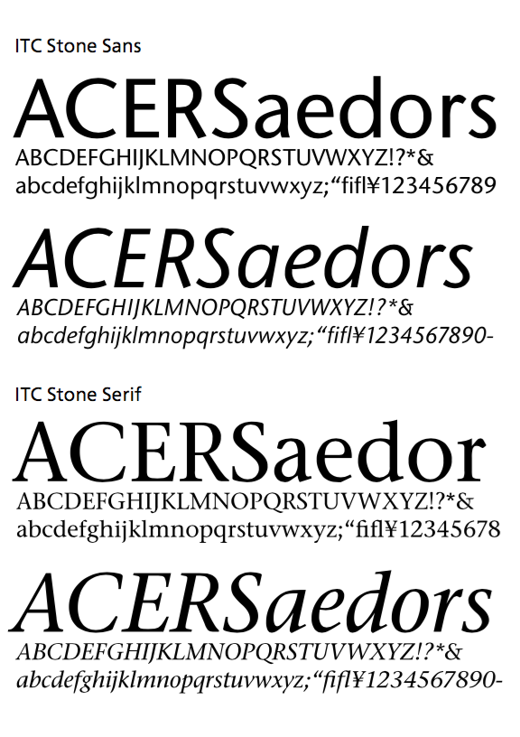 ITC Stone Sans 和 ITC Stone Serif 樣張(此圖摘自小林章著、Eric Liu 譯的《西文字體》)